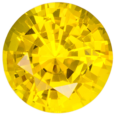 5.7 mm Yellow Sapphire Genuine Gemstone in Round Cut, Pure Rich Yellow, 0.88 carats