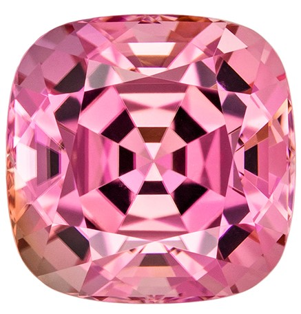 Unique Pink Tourmaline Genuine Stone, 5.78 carats, Cushion Cut, 10.3 x 10.2  mm , Amazing Color Low Price