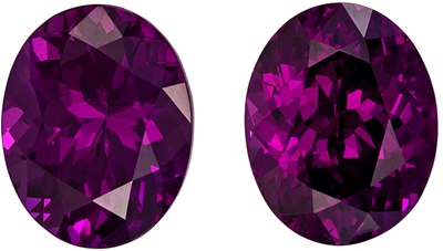 Hard to Find Garnet Matched Pair, 9.4 x 7.5mm, Rich Grape Purple, Oval Cut, 5.8 carats
