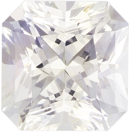 5.8 x 5.7 mm White Sapphire Genuine Gemstone in Radiant Cut, Very Colorless White, 1.16 carats