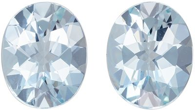 Exciting Pair of 5.82 carat Nice Blue Aquamarine Gemstones in Oval Cut 11 x 8.9 mm