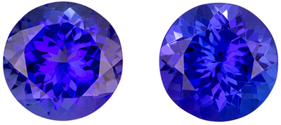 Perfect Tanzanite Pair in Large Rounds, 5.86 carats Intense Blue Purple Color in 8.80 mm Size