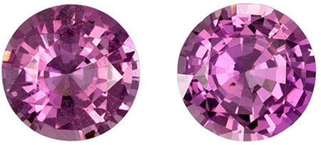 5.9 mm Pink Sapphire Well Matched Gem Pair in Round Cut, Medium Pink, 1.72 carats