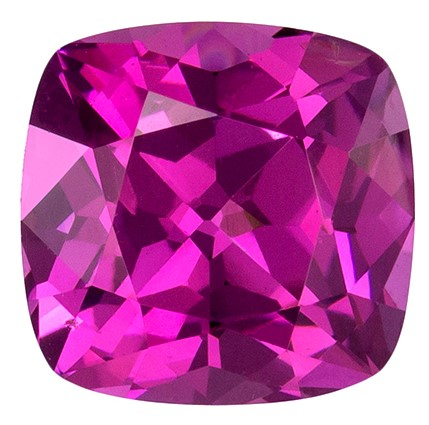 Stunning Pink Rhodolite Genuine Gemstone in Cushion Cut, Vivid Raspberry Pink Color, 1.30 carats in 5.9mm Size