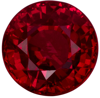 5.9 mm Ruby Genuine Gemstone in Round Cut, Open Red, 1.32 carats