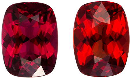 5.9 x 4.4 mm Red Spinel Well Matched Gem Pair in Cushion Cut, Open Rich Red, 1.23 carats