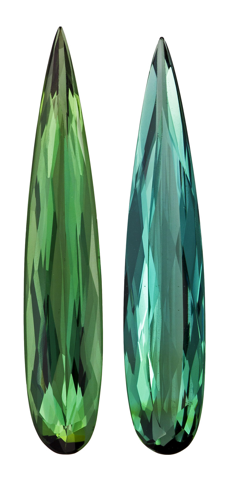 5.98 carats Green Tourmaline 2 Piece Matched Pair in Pear Cut, Rich Blue Green, 23.5 x 5.7 mm