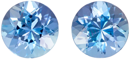 5 mm Aquamarine Well Matched Gem Pair in Round Cut, Vivid Blue, 0.92 carats