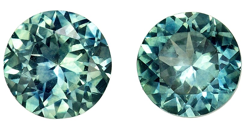 5 mm Blue Green Sapphire 2 Piece Matched Pair in Round Cut, Blue Green, 1.24 carats