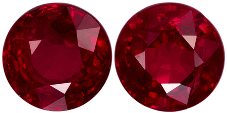 5 mm Ruby 2 Piece Matched Pair in Round Cut, Rich Red, 1.44 carats