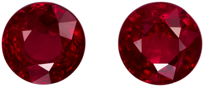 Deal on 5.0 mm Ruby 2 Piece Matched Pair in Round Cut, Rich Red, 1.44 carats