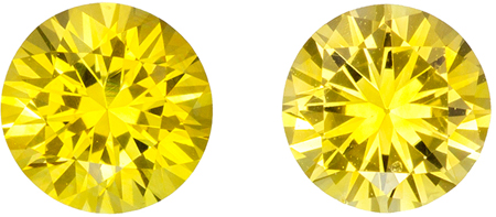 5 mm Yellow Sapphire Genuine Gemstone in Round Cut, Medium Yellow, 1.17 carats