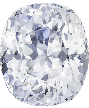 6.01 carats White Sapphire Loose Gemstone in Cushion Cut, Colorless Pure White, 11.1 x 9.6 mm