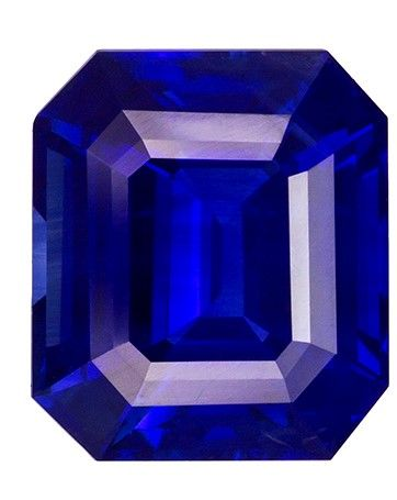 Very Special Gem 11.0 x 9.5 mm Sapphire Genuine Gemstone in Emerald Cut, Vivid Blue, 6.1 carats