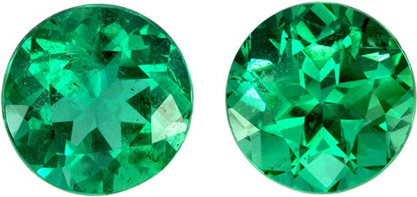 6.1 mm, 1.78 carats Pair of Super Fine Emeralds in Round Cut, Vivid Medium Green Color