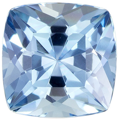 6.1 mm Aquamarine Genuine Gemstone Cushion Cut, Vivid Blue, 0.89 carats