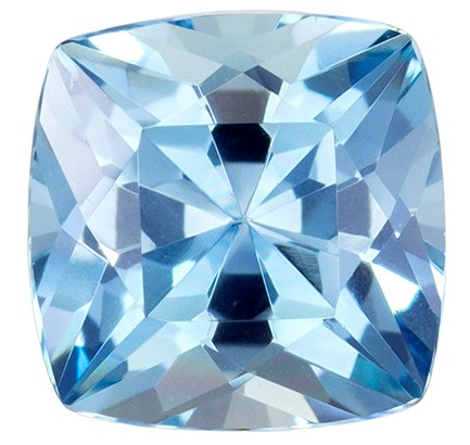 6.1 mm Aquamarine Genuine Gemstone in Cushion Cut, Vivid Blue, 0.89 carats