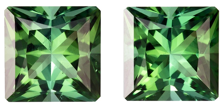 6.1 mm Blue Green Tourmaline Matched Gemstone in Pair in Princess Cut, Vivid Grass Green, 2.3 carats