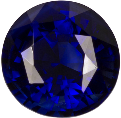 6.1 mm Blue Sapphire Genuine Gemstone in Round Cut, Intense Rich Blue, 1.26 carats