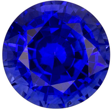 6.1 mm Blue Sapphire Genuine Gemstone in Round Cut, Medium Blue, 1.16 carats