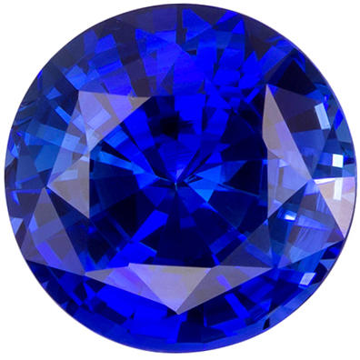 Very Fine 1.11 carats Sapphire Loose Genuine Gemstone in Round Cut, Rich Blue, 6.1 mm