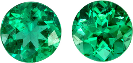 6.1 mm Emerald Well Matched Gem Pair in Round Cut, Vivid Green, 1.78 carats
