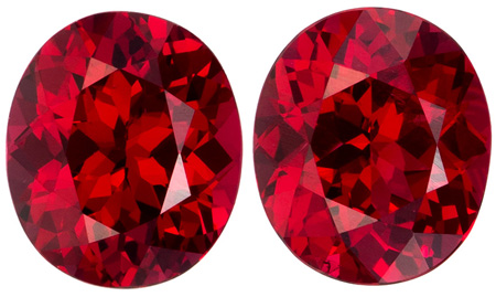 6.1 x 5.2 mm Red Spinel Matched Gemstone in Pair in Oval Cut, Fire Engine Red, 1.67 carats