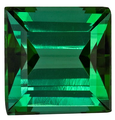 6.1 x 6 mm Green Tourmaline Genuine Gemstone in Square Cut, Rich Grass Green, 1.32 carats