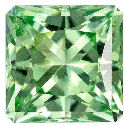 6.2 mm Green Tourmaline Genuine Gemstone in Radiant Cut, Light Mint Green, 1.33 carats