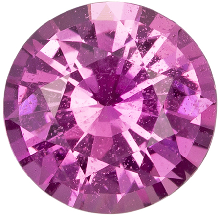 6.2 mm Pink Sapphire Genuine Gemstone in Round Cut, Rich Pink, 1.02 carats