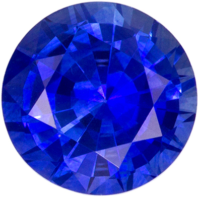 6.3 mm Blue Sapphire Genuine Gemstone in Round Cut, Vivid Blue, 1.32 carats