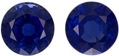 Super Nice 6.3 mm Blue Sapphire Well Matched Gem Pair in Round Cut, Pure Blue, 2.68 carats