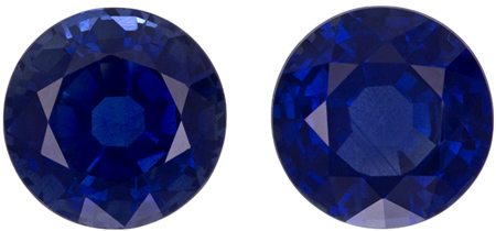 6.3 mm Blue Sapphire Well Matched Gem Pair in Round Cut, Pure Blue, 2.68 carats
