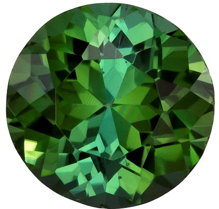 6.3 mm Green Tourmaline Genuine Gemstone in Round Cut, Vivid Grass Green, 1.03 carats