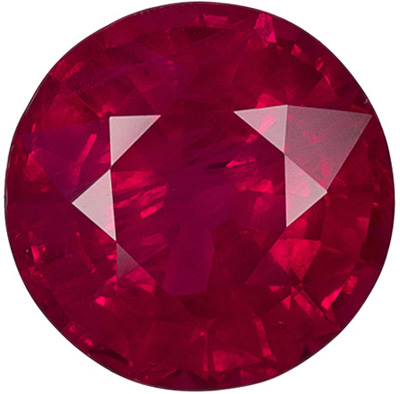 6.3 mm Ruby Genuine Gemstone in Round Cut, Rich Red, 1.15 carats
