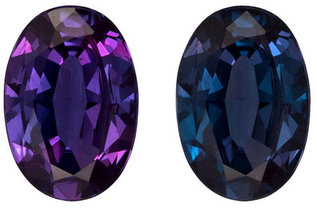 6.3 x 4.4 mm Alexandrite Genuine Gemstone in Oval Cut, Teal Blue to Burgundy, 0.5 carats