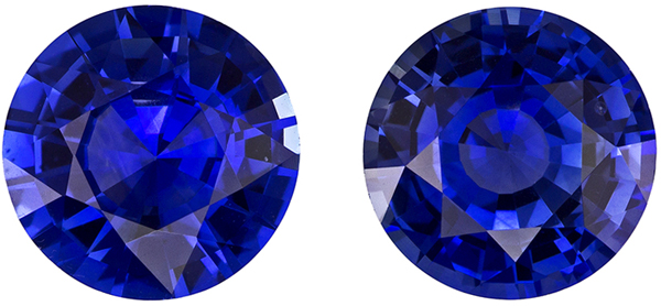 6.4 mm, 2.49 carats Matched Blue Sapphires in Super Fine Intense Rich Blue Color in Round Shape
