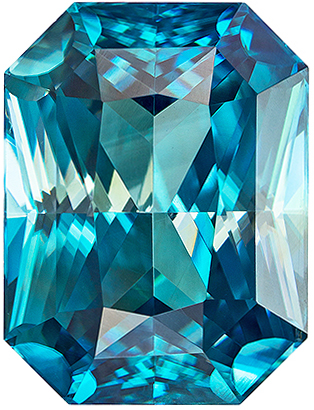 6.41 carats Blue Zircon Loose Gemstone in Radiant Cut, Rich Teal Blue, 10.9 x 8.2 mm