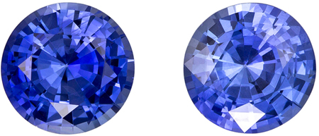 6.5 mm Blue Sapphire Well Matched Gem Pair in Round Cut, Rich Cornflower Blue, 2.36 carats