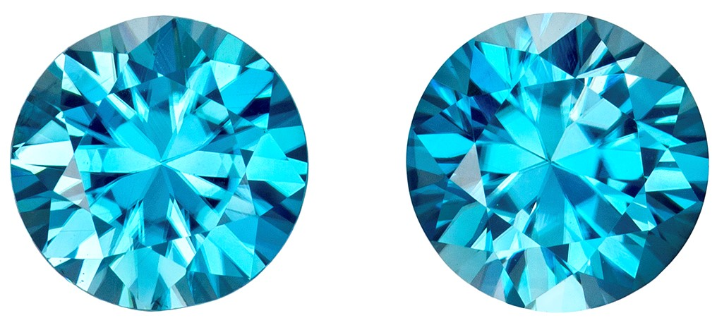 6.5 mm Blue Zircon Matched Gemstone in Pair in Round Cut, Teal Tinged Blue, 3 carats