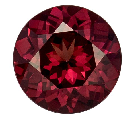 Super Fine Gem 6.5 mm Rhodolite Genuine Gemstone in Round Cut, Raspberry Red, 1.17 carats