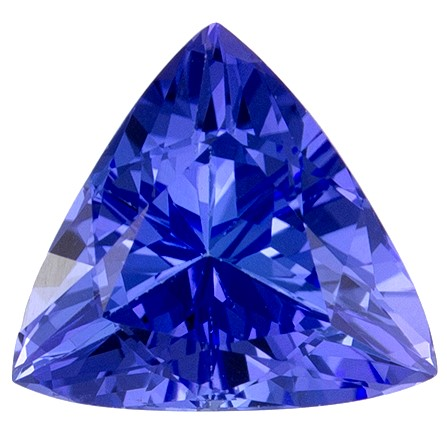 6.5 mm Tanzanite Genuine Gemstone in Trillion Cut, Vivid Blue Purple, 0.89 carats