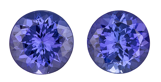 6.5 mm Tanzanite Well Matched Gem Pair in Round Cut, Medium Blue Purple, 2.31 carats