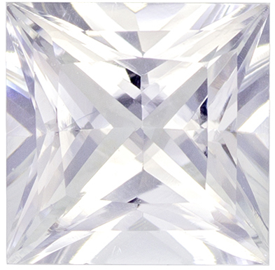 6.5 mm White Sapphire Genuine Gemstone in Princess Cut, Very Colorless White, 1.5 carats