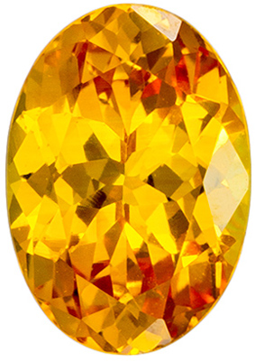 6.5 x 4.5 mm Yellow Sapphire Genuine Gemstone in Oval Cut, Golden Yellow, 0.71 carats