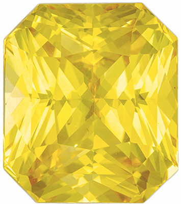 Hard to Find Sapphire Genuine Gem, 10.5 x 9.2mm, Medium Pure Yellow, Radiant Cut, 6.5 carats