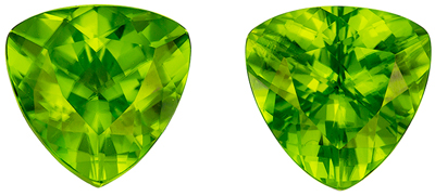 Loose Stunning 6.51 carats Green Peridot Trillion Gemstone Pair, 9.4 mm
