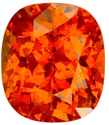 Spectacular Fiery Orange 6.53 carat Spessartite Cushion Cushion Gemstone, Nigerian origin, 11.4 x 9.8  mm