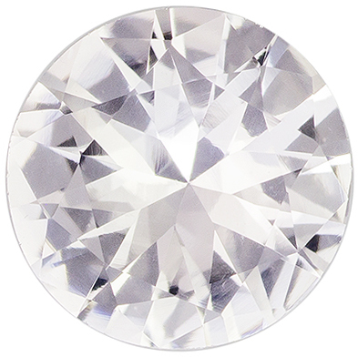 6.6 mm, 1.02 carats Colorless White Sapphire Gemstone in Round Cut, Colorless White
