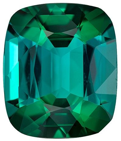 Selected Blue Green Tourmaline Gemstone, 6.63 carats, Cushion Cut, 13.3 x 11 mm, A Beauty of a Gem